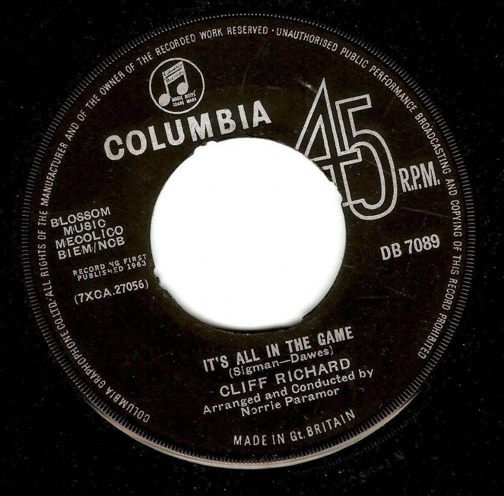 CLIFF RICHARD It's All In The Game Vinyl Record 7 Inch Columbia 1963